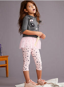 Girls 4-6x Hooded Cat Graphic Top with Leggings - 3607061950076