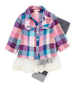 Girls 4-6x Plaid Crochet Trim Shirt and Denim Leggings - 3607061950079