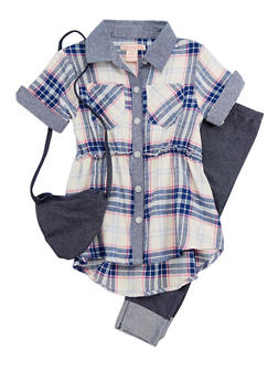 Girls 4-6x Plaid Shirt with Denim Knit Leggings and Purse - 3607061950080