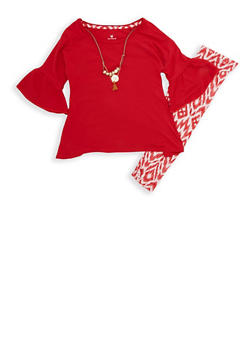Girls 4-6x  BHPC Bell Sleeve Top with Necklace and Printed Leggings Set - 3607061950082