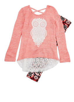 Girls 4-6x Crochet Detail Sweater with Printed Leggings Set - 3607061950084