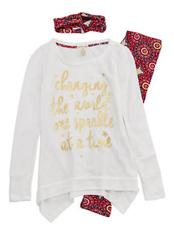 Girls 4-6x Foil Graphic Sweater with Printed Leggings and Headband Set - 3607061950087