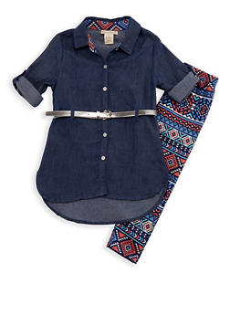 Girls 4-6x Belted Denim Top and Printed Leggings Set - 3607061950093