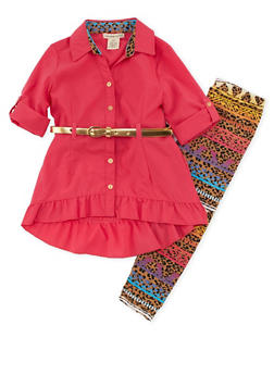 Girls 4-6x Belted Shirt with Printed Leggings - 3607061950095