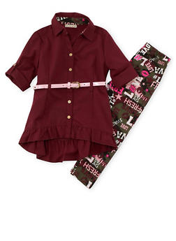 Girls 4-6x Belted Shirt with Printed Leggings - 3607061950097