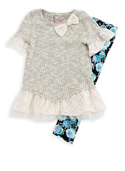 Girls 4-6x Knit Ruffle Dress and Printed Leggings Set - 3607061950102