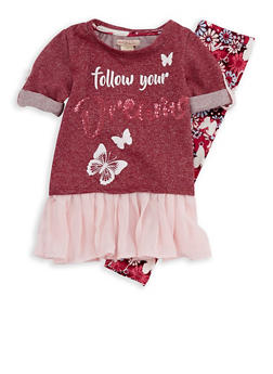 Girls 4-6x Dreams Graphic Top with Leggings - 3607061950105