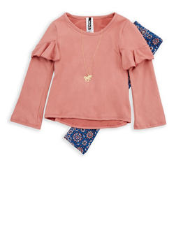 Girls 4-6x Long Sleeve Top with Leggings and Unicorn Necklace - 3607061950108