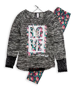Girls 4-6x Graphic Top with Printed Leggings and Detachable Necklace - 3607063370001