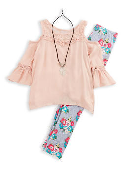 Girls 4-6x Cold Shoulder Top with Printed Leggings and Necklace - 3607063370002