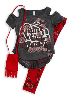 Girls 4-6x Graphic Cold Shoulder Top with Printed Leggings and Purse - 3607063370003