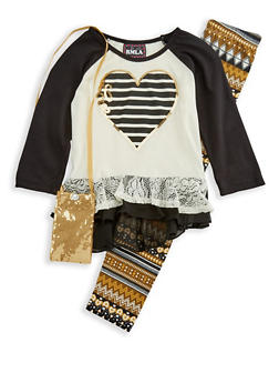 Girls 7-16 Heart Top with Printed Leggings and Purse Set - 3608021280020