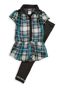 Girls 7-16 Short Sleeve Plaid Top with Cami and Leggings Set - 3608021280025