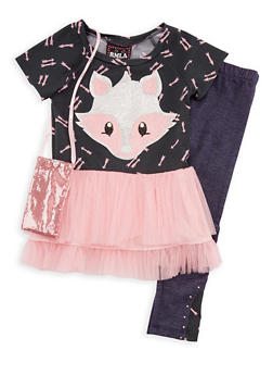 Girls 7-14 Fox Top with Denim Knit Leggings and Purse Set - 3608021280028