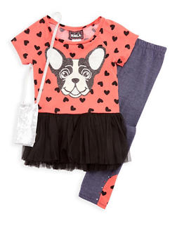 Girls 7-14 Puppy Top with Denim Knit Leggings and Purse Set - 3608021280029