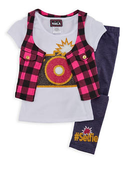 Girls 7-16 Selfie Graphic T Shirt Vest and Leggings Set - 3608021280031