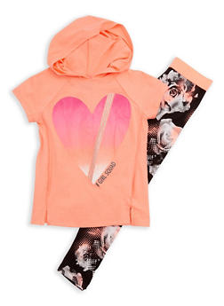 Girls 7-16 Short Sleeve Girls Squad Graphic Hooded Top with Printed Leggings Set - 3608021280032