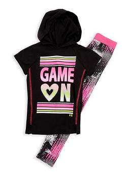 Girls 7-16 Short Sleeve Game On Graphic Hooded Top with Printed Leggings Set - 3608021280033