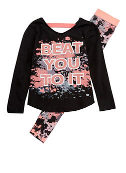 Girls 7-16 Graphic Caged Back Top with Splatter Print Leggings Set - 3608021280035