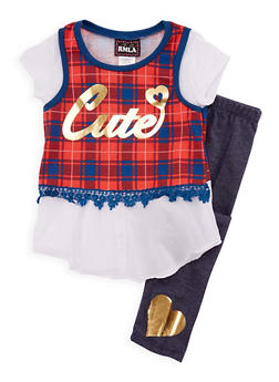 Girls 7-14 Cutie Graphic Top with Denim Knit Leggings Set - 3608021280036