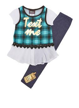 Girls 7-16 Plaid Chiffon Top and Denim Knit Leggings Set - 3608021280037
