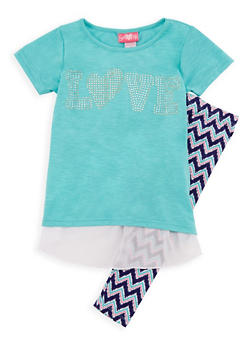 Girls 7-16 Love Graphic Top with Printed Leggings - 3608048370009
