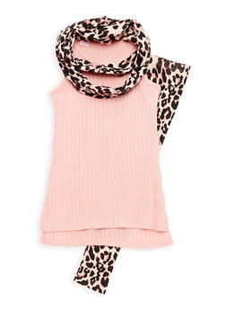 Girls 7-16 Sleeveless Ribbed Knit Top with Printed Leggings and Scarf Set - 3608048370013
