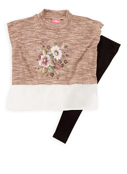 Girls 7-16 Sleeveless Floral Print Knit Top and Leggings Set - 3608048370014