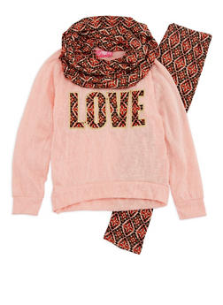 Girls 7-16 Long Sleeve Love Top with Printed Leggings and Scarf Set - 3608048370016
