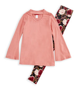 Girls 7-16 Bell Sleeve Keyhole Top with Floral Leggings Set - 3608060580001