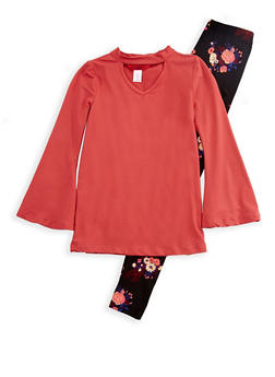 Girls 7-16 Soft Knit Bell Sleeve Keyhole Top with Floral Leggings - 3608060580003