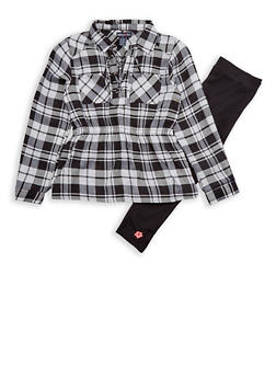 Girls 7-16 Limited Too Black and White Plaid Tunic Top with Leggings Set - 3608060990094