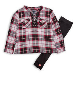 Girls 6x-16 Limited Too Plaid Long Sleeve Lace Up Top with Leggings Set - 3608060990095