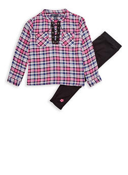 Girls 7-16 Limited Too Plaid Top with Leggings Set - 3608060990096
