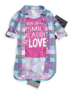 Girls 7-16 Graphic Print Checkered Shirt with Leggings - 3608061950049