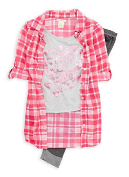 Girls 7-16 Graphic Print Plaid Shirt with Leggings - 3608061950050