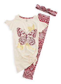 Girls 7-16 Butterfly Graphic Top and Printed Leggings Set - 3608061950055