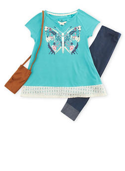 Girls 7-16 Graphic Top with Denim Knit Leggings and Purse - 3608061950061