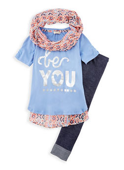 Girls 7-16 3 Piece Graphic Top with Leggings and Scarf Set - 3608061950063