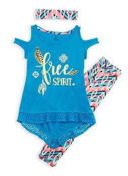 Girls 7-16 Free Spirit Cold Shoulder Top and Leggings Set - 3608061950065
