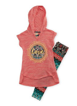 Girls 7-16 Love Graphic Hoodie and Printed Leggings Set - 3608061950069
