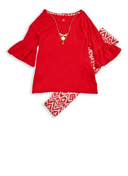 Girls 7-16 Red Skater Top with Printed Leggings - 3608061950073