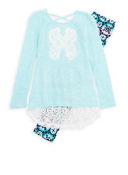 Girls 7-16 Butterfly Sweater with Printed Leggings - 3608061950077