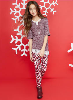 Girls 7-16 Bell Sleeve Sweater with Printed Leggings - 3608061950079