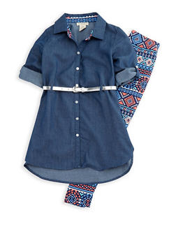 Girls 7-16 Chambray Top with Aztec Printed Leggings - 3608061950084