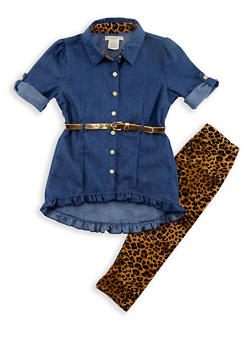 Girls 7-16 Denim Shirt and Leopard Leggings Set - 3608061950085