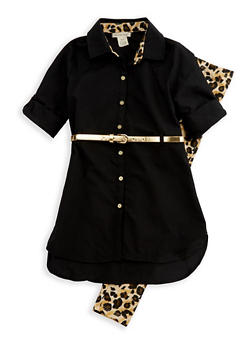 Girls 7-16 Button Front Belted Top with Printed Leggings - 3608061950089