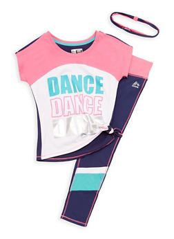 Girls 7-16 Short Sleeve Graphic Top and Active Leggings Set with Headband - 3608061950092