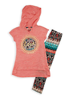 Girls 7-16 Short Sleeve Hooded Knit Top with Printed Leggings Set - 3608061950096