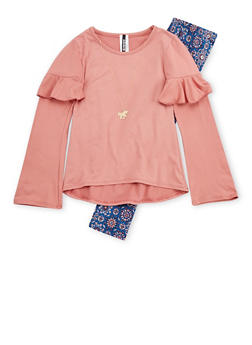 Girls 7-16 Long Sleeve Top with Leggings and Unicorn Necklace - 3608061950098